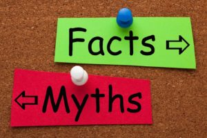 facts and myths arrows pointing in opposite directions